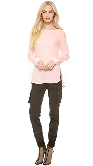 Theory Double Georgette Toska Blouse