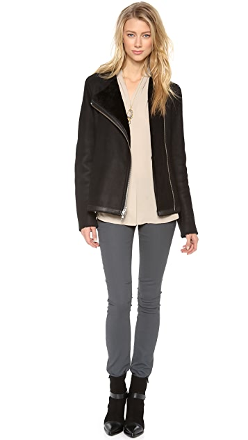 Theory Gabrelle Shearling Leather Coat