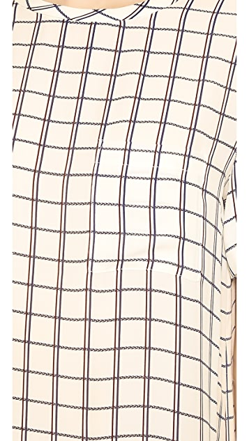 Theory Scribble Grid Broxlin W Blouse