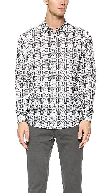 Theory Zack Shadowed Plaid Shirt