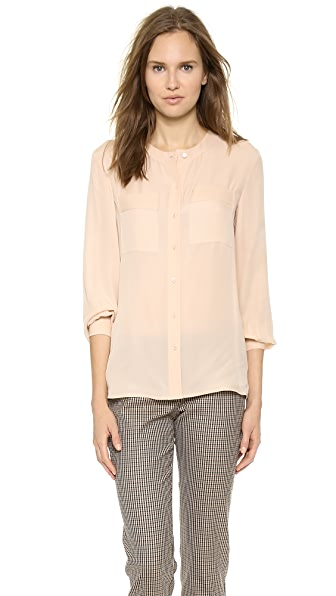 Theory Double Georgette Hetal Blouse