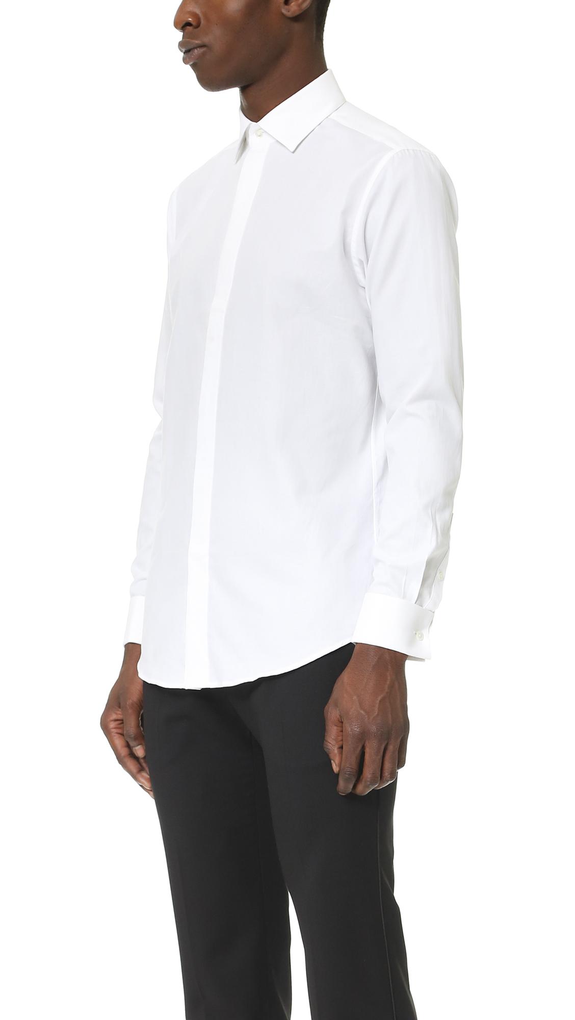 Theory sylvain wealth button down shirt slim fit white for Slim fit white button down shirt