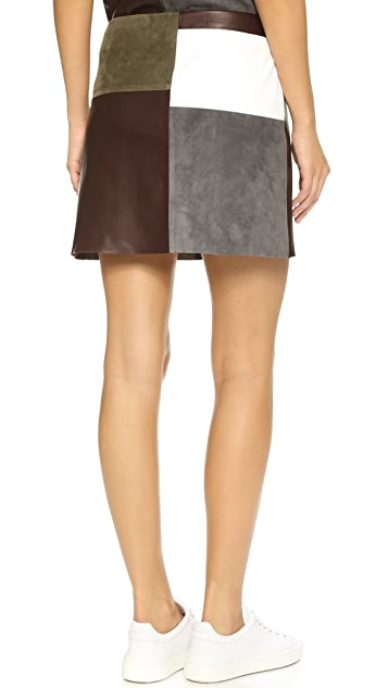 Theory Leather & Suede Shanrial Skirt