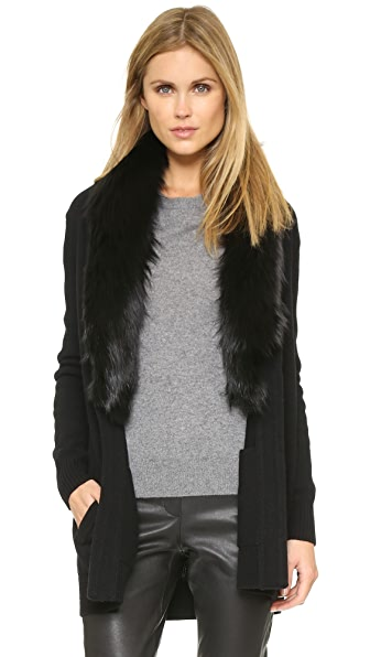 Theory Loryelle Shurelia Cardigan with Fur Collar