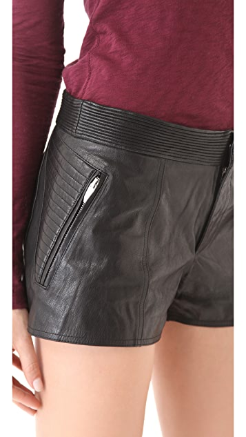 Theyskens' Theory Paluccia Norinto Leather Shorts