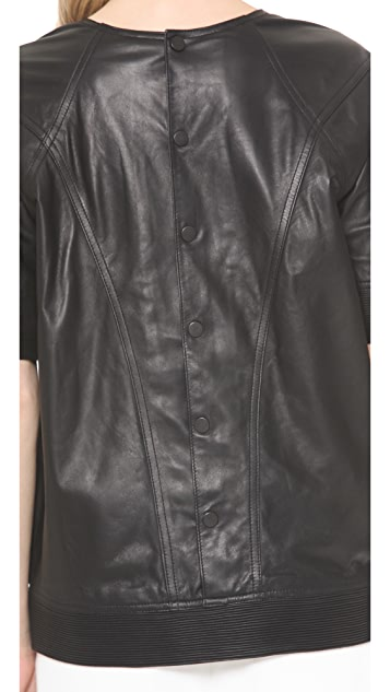 Theyskens' Theory Nixer Bascal Leather Pullover