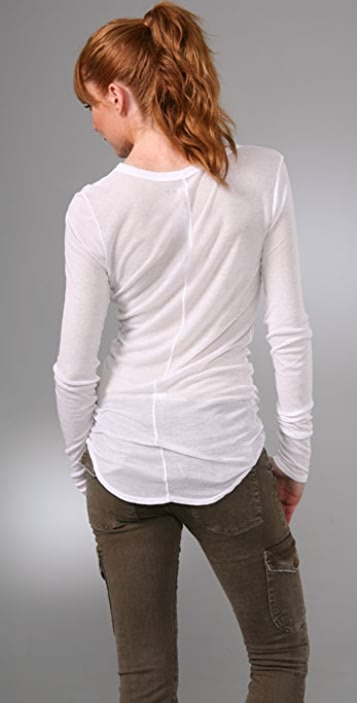 Three Dots Crew Neck Top with Shirttail Hem