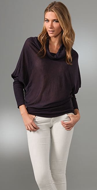 Three Dots Long Sleeve Draped Top