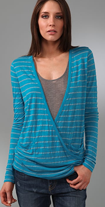 Three Dots Slub Stripe Wrap Cardigan