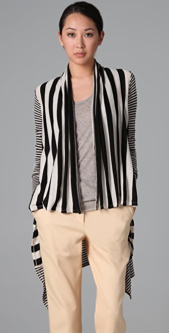 Three Dots Natural Stripe Long Sleeve Cardigan