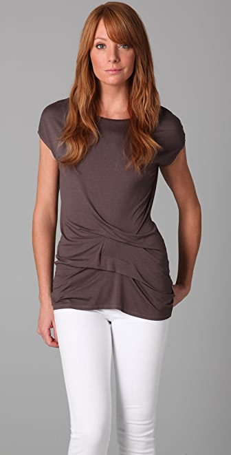 Three Dots Cap Sleeve Crew Neck Tee