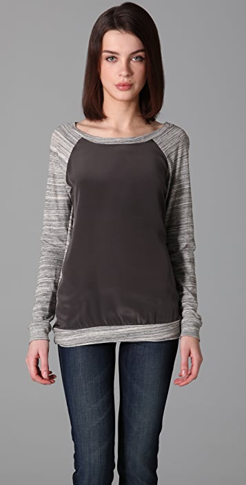 Three Dots Silk Panel Top