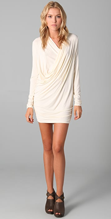 Three Dots Long Sleeve Draped Dress