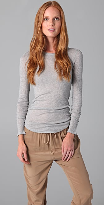 Three Dots Long Sleeve Crew Neck Tee