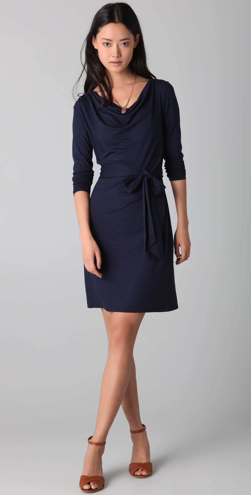 Three Dots Long Sleeve Draped Front Body Dress