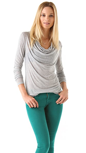 Three Dots Cowl Neck Shirttail Tee
