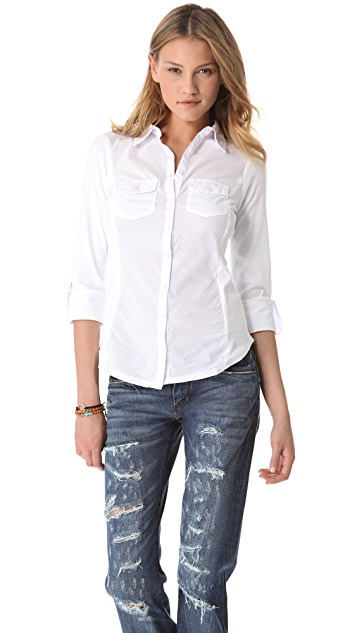 Three Dots Button Up Combo Shirt