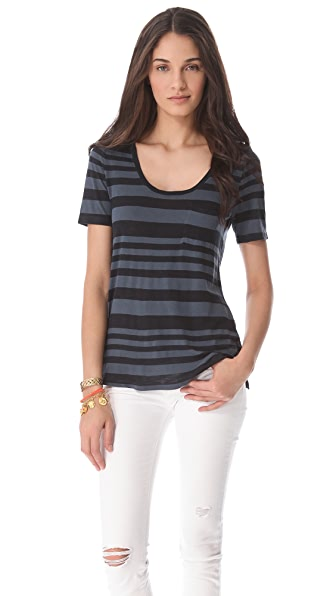 Three Dots Scoop Neck Pocket Tee