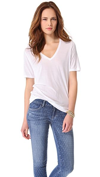 Three Dots Short Sleeve V Neck Tee