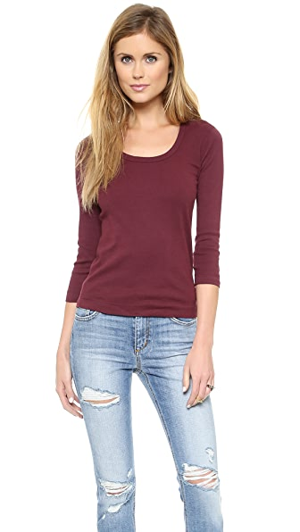 Three Dots 3/4 Sleeve Scoop Neck