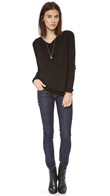 Three Dots Draped Overlay Top