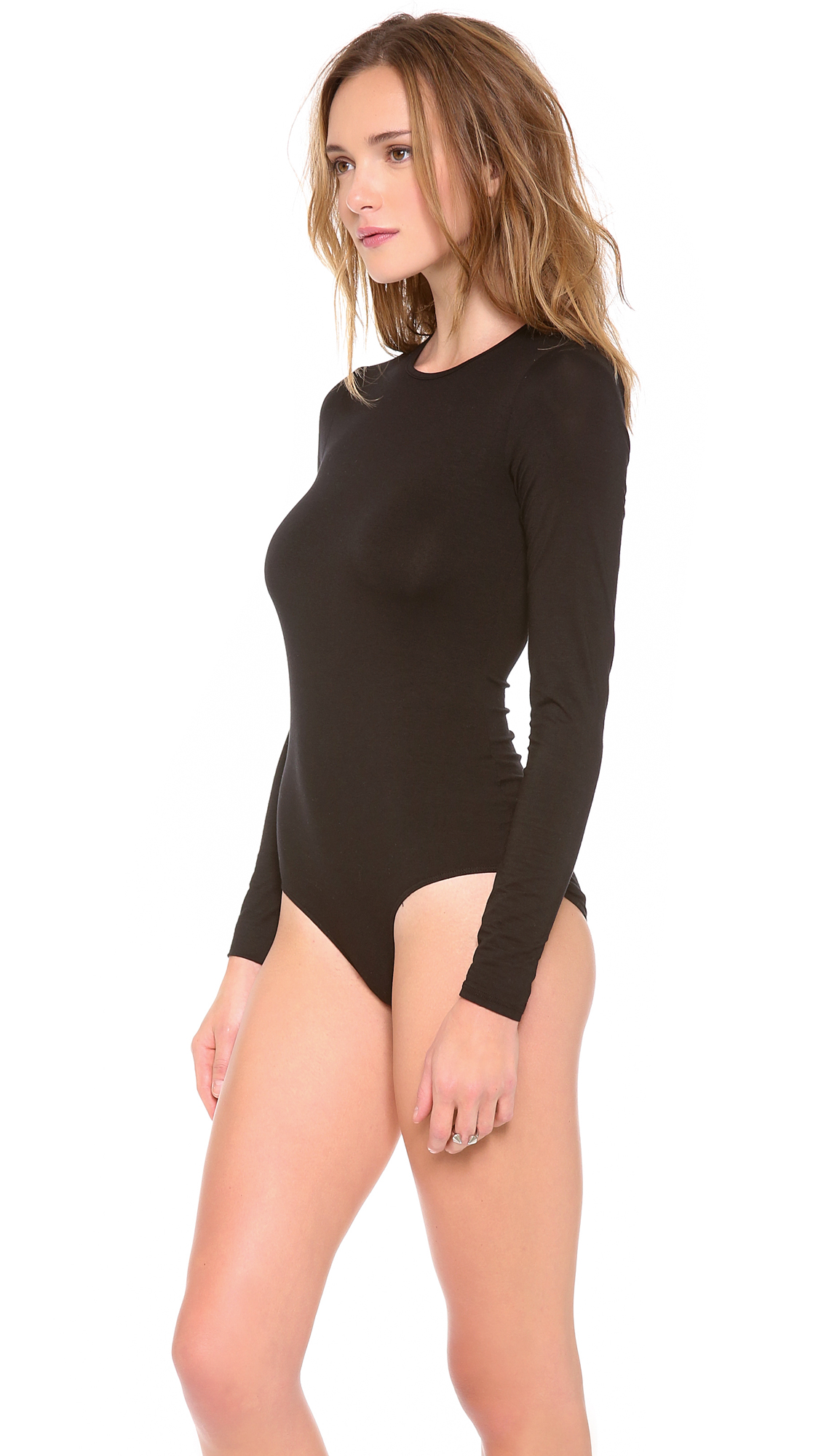 a994ad45f6 Three Dots Long Sleeve Bodysuit with Crew Neck