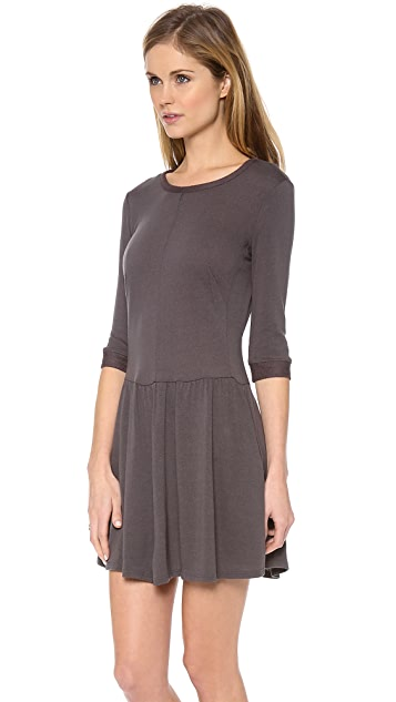Three Dots Crew Neck Dress with 3/4 Sleeves
