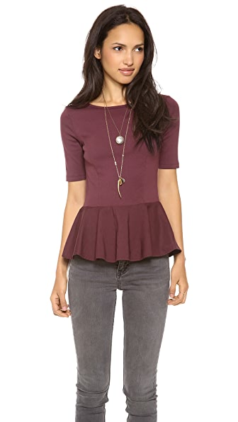 Three Dots Short Sleeve Peplum Top
