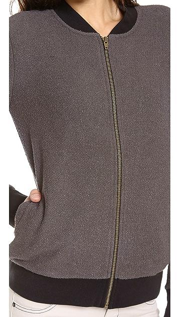 Three Dots Long Sleeve Bomber Jacket with Pockets