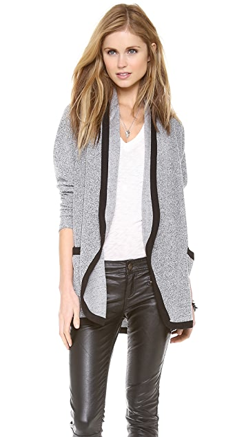 Three Dots Open Cardigan with Contrast Trim