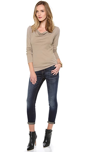 Three Dots Long Sleeve Cowl Top