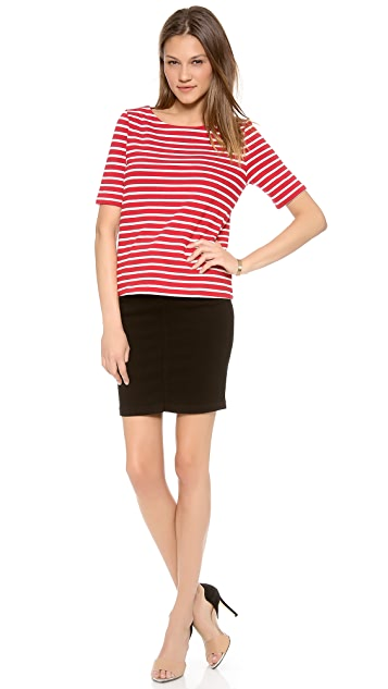 Three Dots French Terry Stripe Top