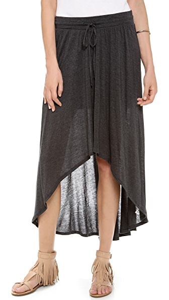 Three Dots Sheer Drawstring High Low Skirt