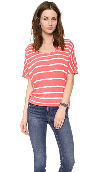 Three Dots Scoop Cap Sleeve Tee