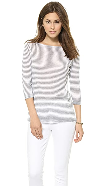 Three Dots 3/4 Sleeve Boat Neck Top