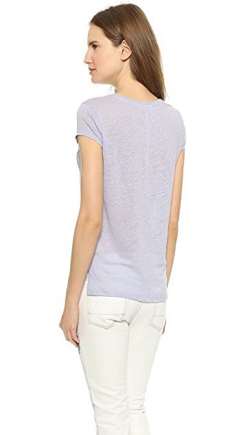 Three Dots Linen Pocket Tee