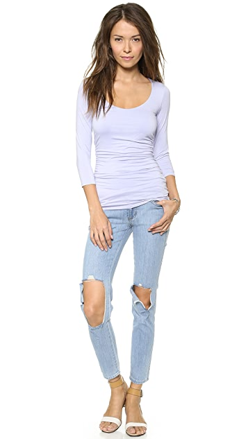 Three Dots Double Layer Scoop Neck Top