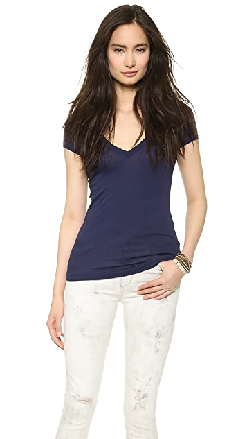 Three Dots Short Sleeve Deep V Neck Tee