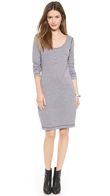 Three Dots Reversible Striped Henley Dress