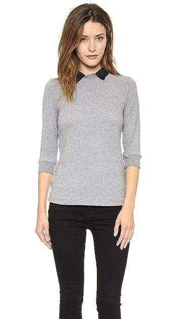 Three Dots Sweater with Silk Collar