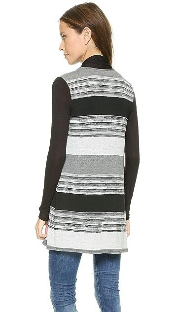 Three Dots Space Dye Striped Cardigan