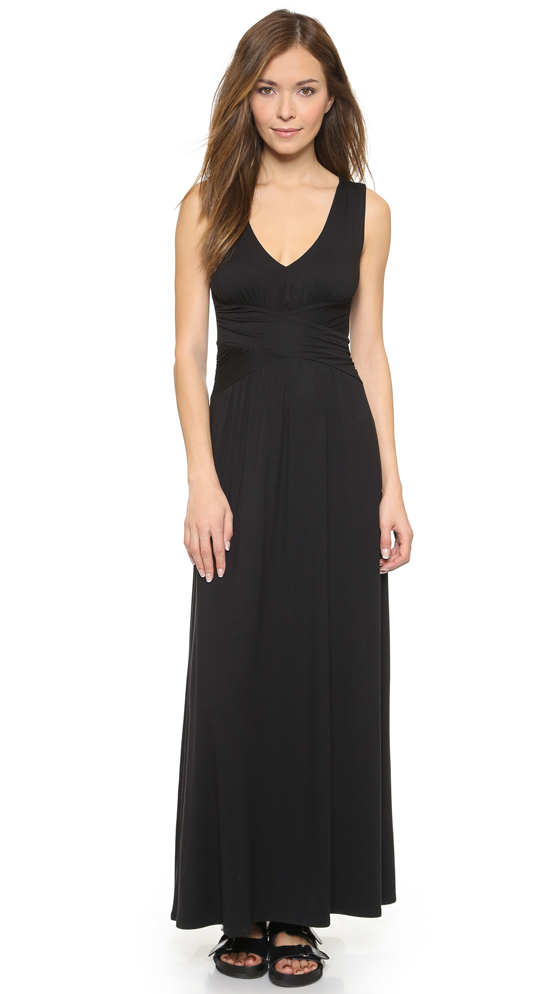 Black dress maxi - Three Dots V Neck Maxi Dress 15 Off First App Purchase With Code 15foryou