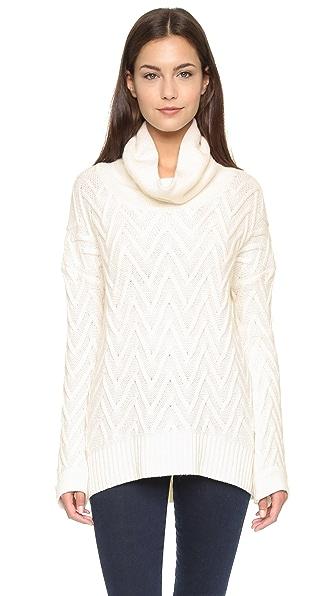 Three Dots Herringbone Stitch Tunic Sweater - Gardenia