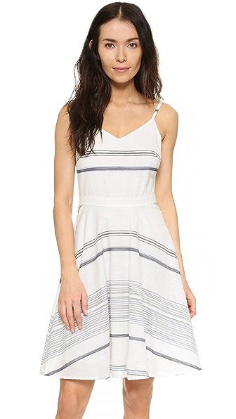 Three Dots Gretta Tie Back Dress - White/Denim