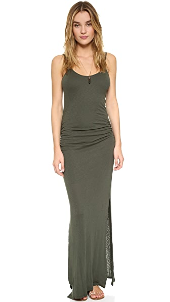Three Dots Rosina Shirred Maxi Dress In Sweet Fern