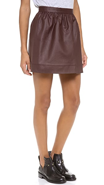 3x1 Coated Ruched Miniskirt