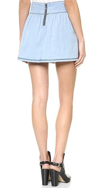 3x1 Ave A Chambray Denim Miniskirt