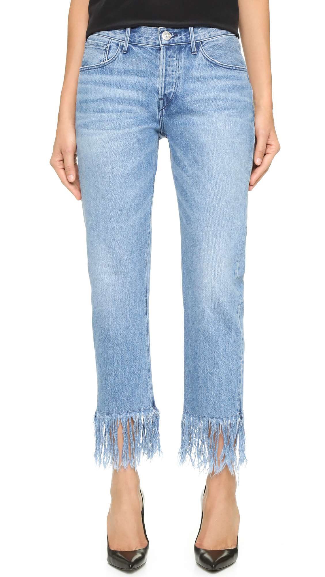 3x1 WM3 Straight Crop Fringe Jeans - Stella