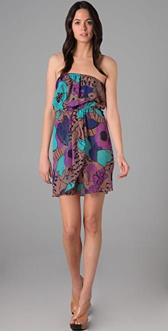Tibi Giant Kamara Print Strapless Cover Up Dress