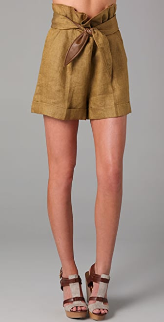 Tibi Herringbone Shorts with Leather